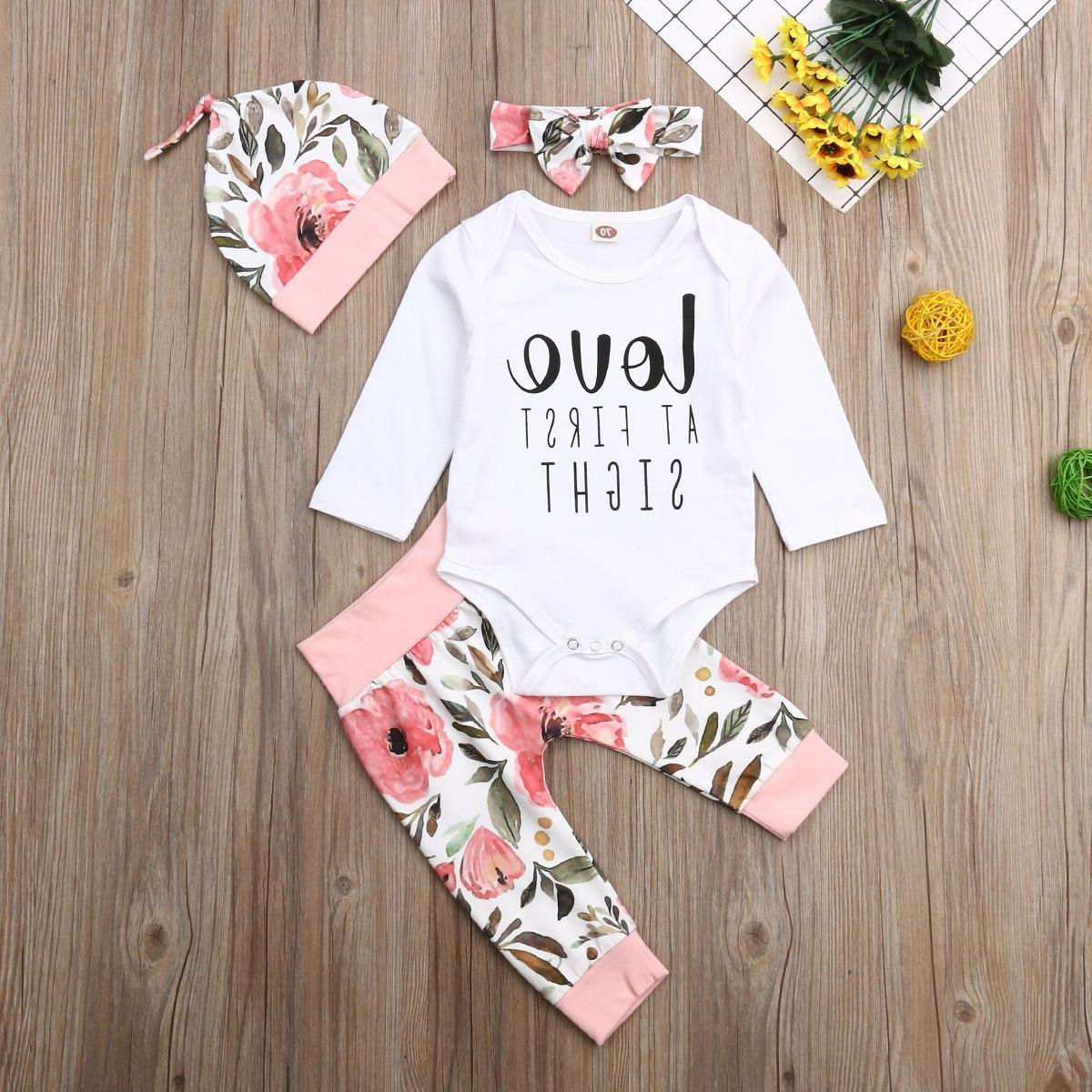 Long Sleeve Letter Flower Bow <font><b>Hat</b></font> 4pcs cotton lovely Autumn Outfits