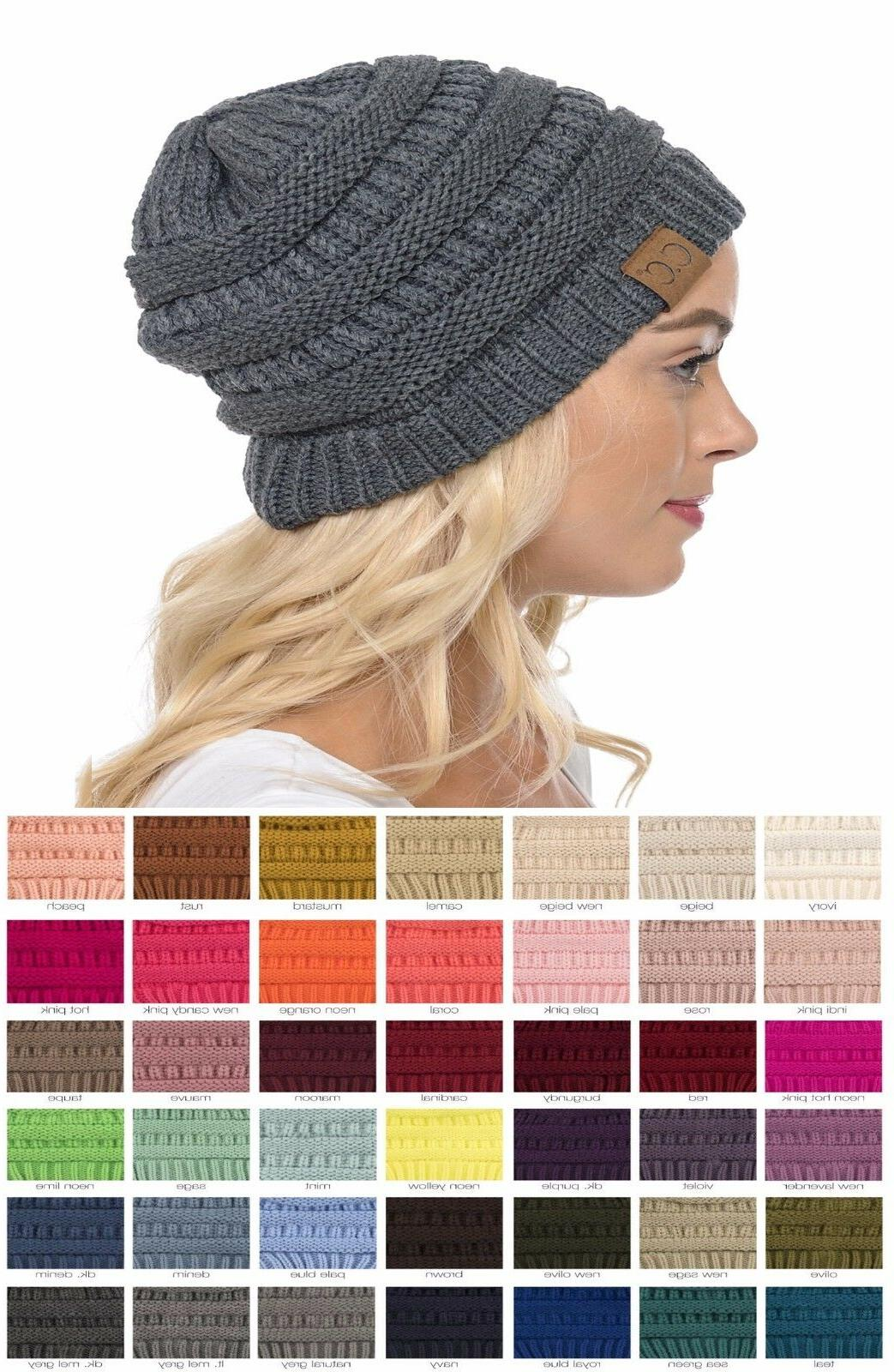 Brand New CC Beanie Womens Cap Hat Skully Unisex Slouch Colo