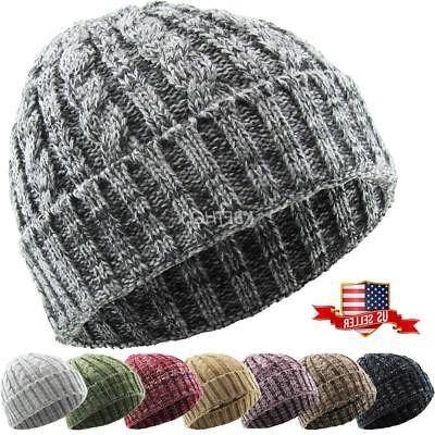 Cable Knit Beanie Ski Cap Skull Hat Warm Solid Winter Cuff N