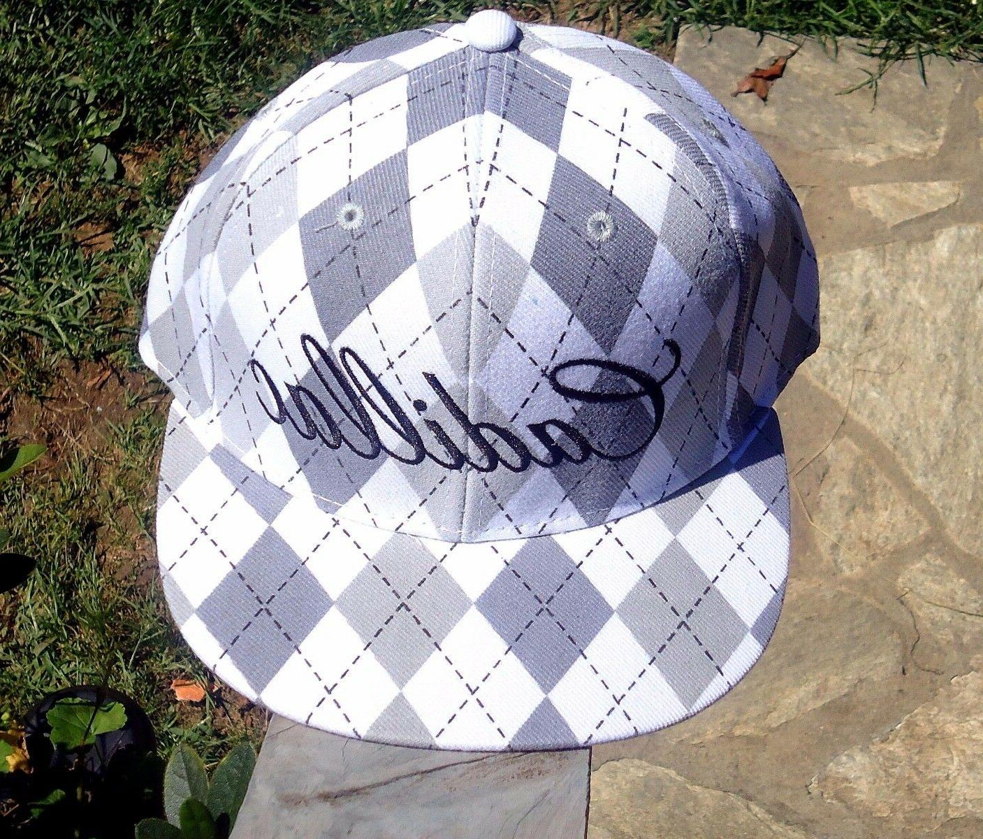 cadillac gray white fitted hat baseball cap