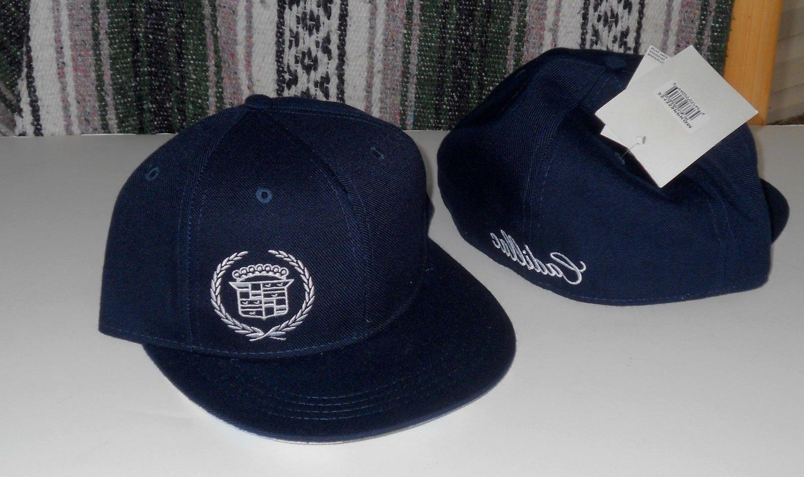 cadillac navy blue fitted hat baseball cap