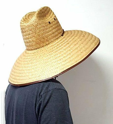 Double Hard Shell Shade Large Wide Brim Straw