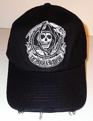 SONS OF ANARCHY FITTED BALL CAP - BLACK EMBROIDERED GRIM REA