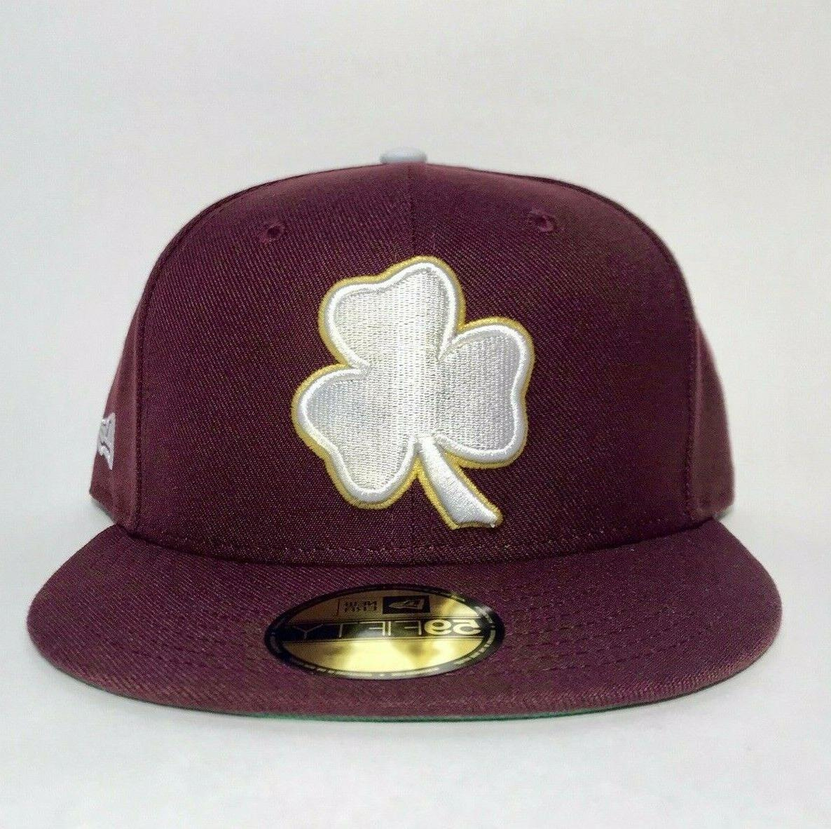 fitted hat cap 5950 maroon shamrock aquinas