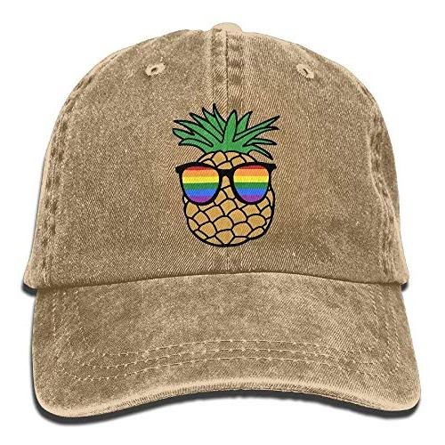 gay pride pineapple denim hat adjustable female