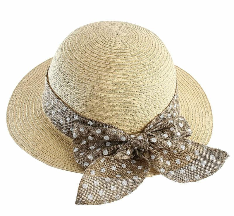 kids summer straw hat bowknot beach sun