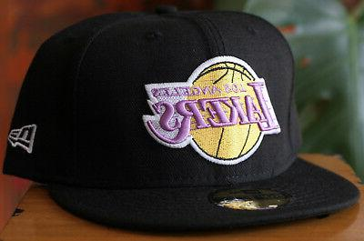 Los Angeles Lakers 59Fifty Black NBA Basketball Hat Size 7