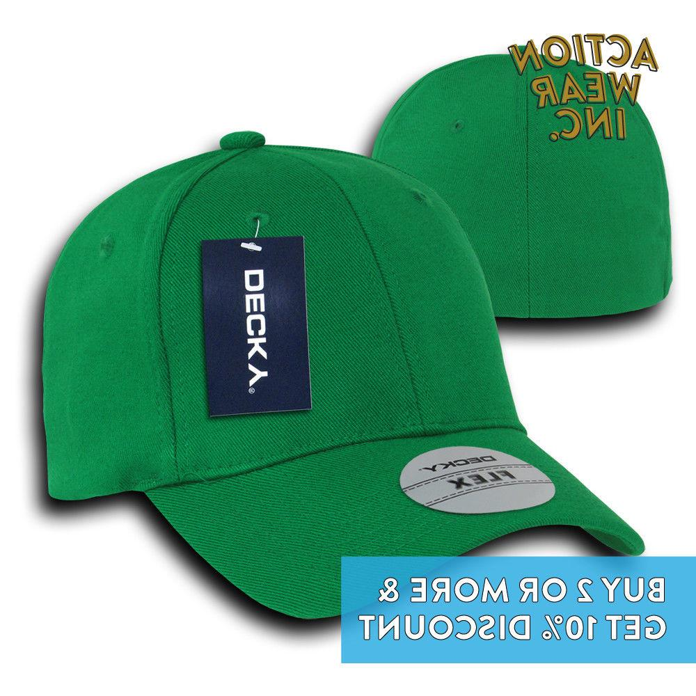 DECKY BASEBALL HAT FLEX FIT HATS CURVED BILL CAPS COLOR