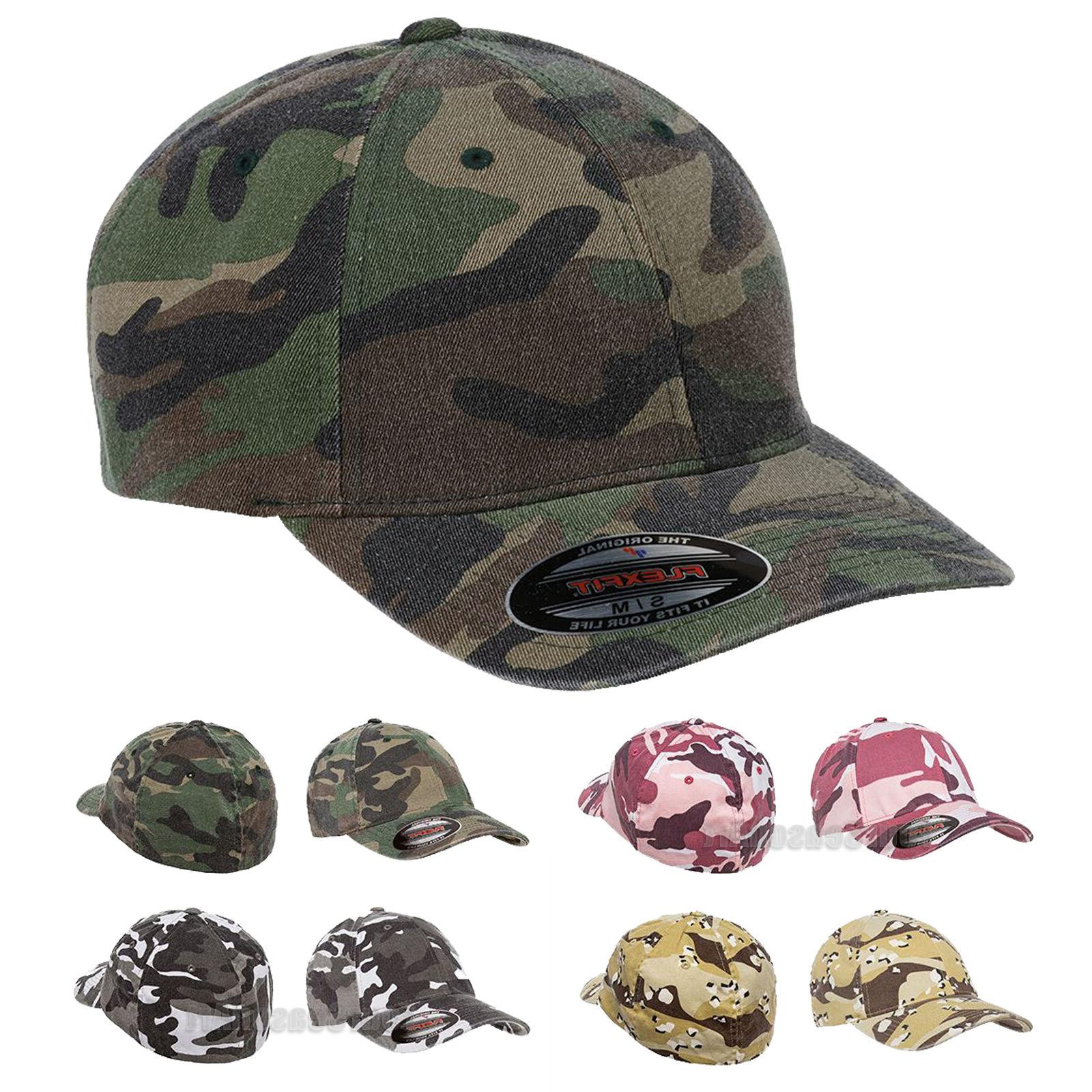Flexfit Mens Camouflage Cap Structured Camo Fitted Hat S/M L