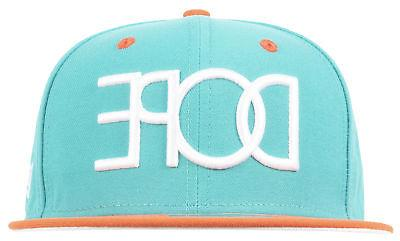 DOPE MIAMI NEW ERA FITTED HAT 59FIFTY CAP MENS TEAL ORANGE
