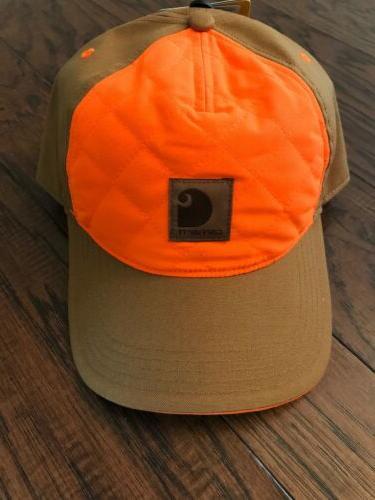 NEW Carhartt Hat Quilted Hunting Orange Brown