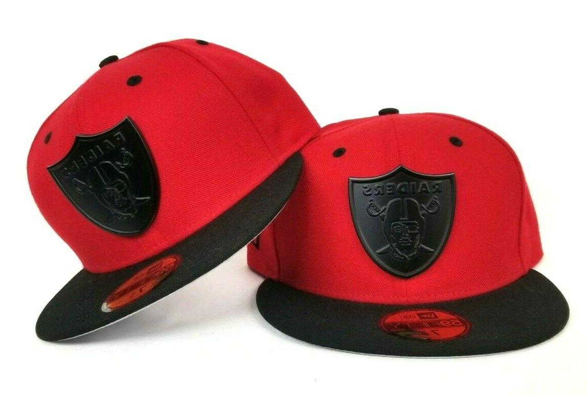 nfl 59fifty red black oakland raiders metal