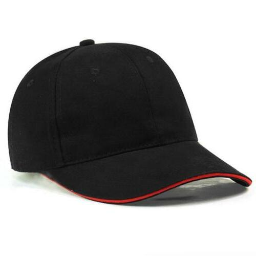 Plain Fitted Curved Visor Baseball Cap Hat Solid Cotton Blan
