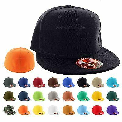 plain fitted flat bill cap visor baseball