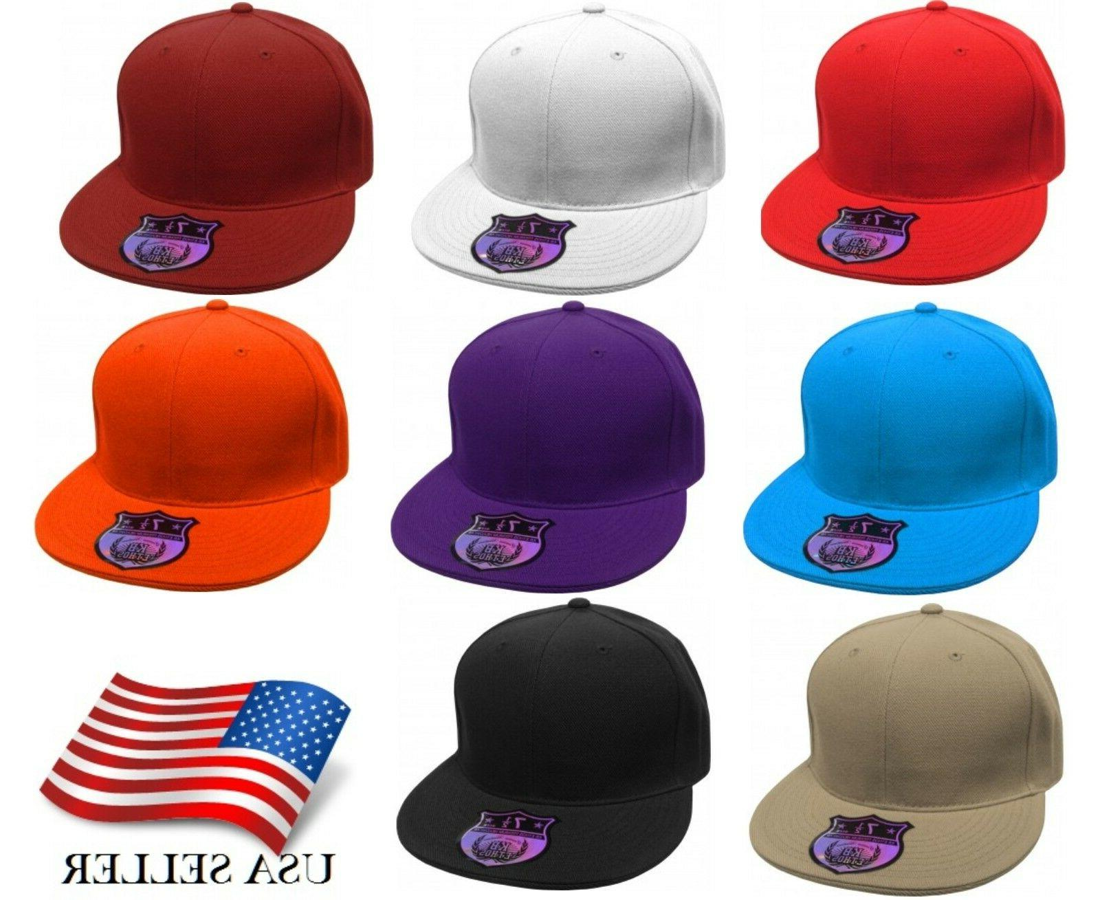 Premium Solid Fitted Flat Bill  Baseball Cap Hat Caps Hats
