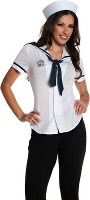 Sailor Fitted Shirt Top Bib Tie Hat Costume Halloween Access