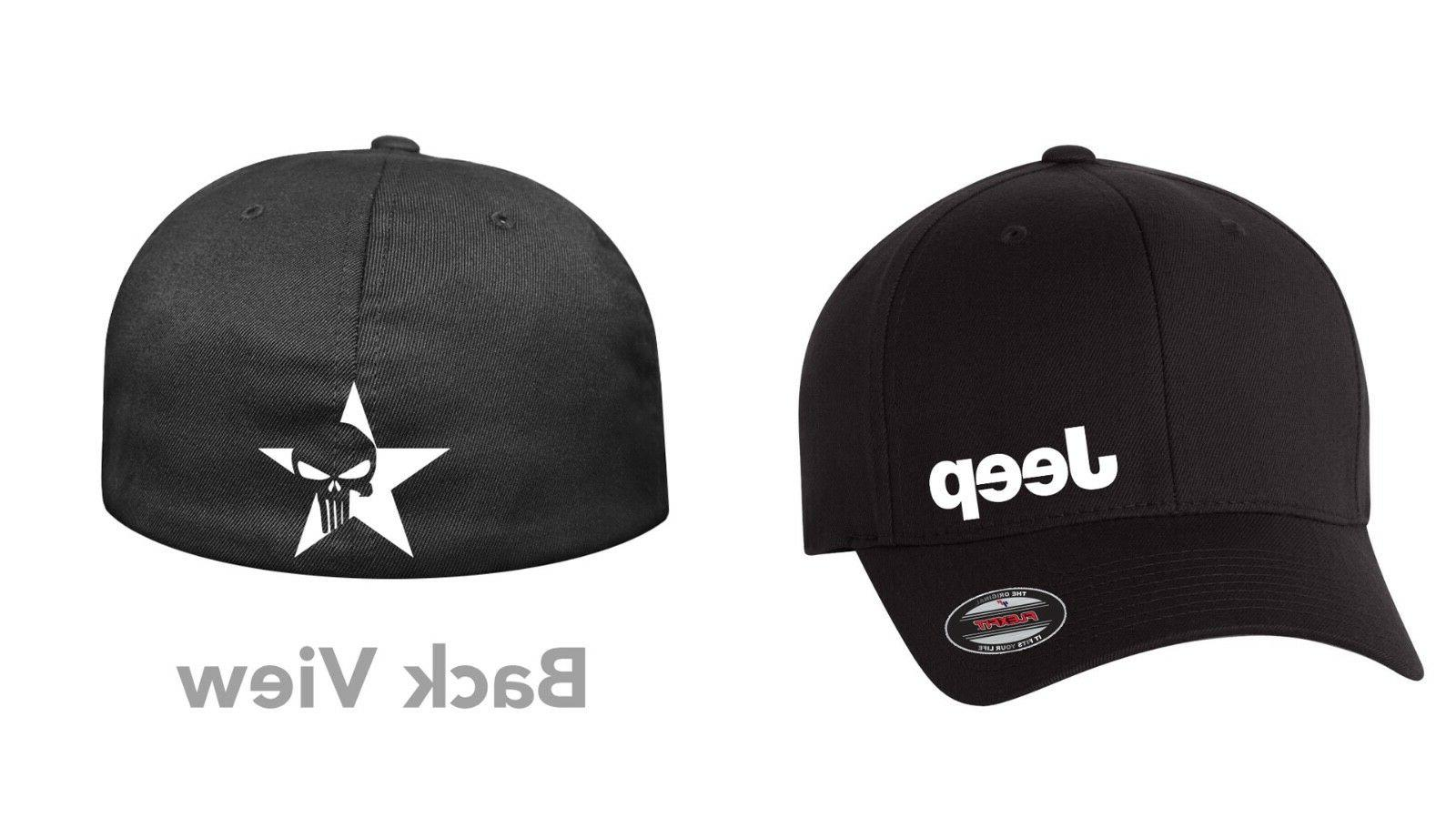 skull jeep flex fit hat curved or