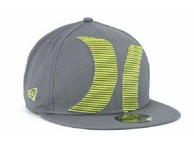 Hurley Stacked Up New Era 59 Fifty Fitted Gray Hat Ball Cap