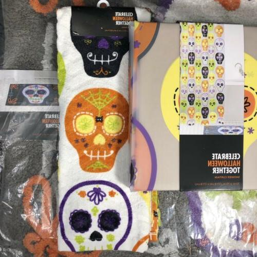Sugar Skull Bathroom Set Shower Curtain + Bath Rug + Hand To