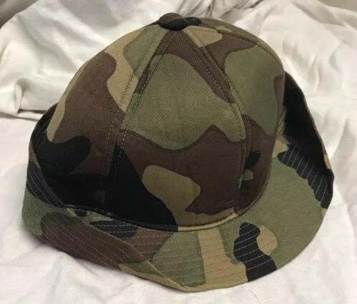 Unique S/M fitted camo hat with bill and flap for cover, out