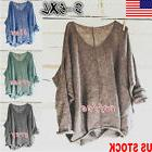 US Women's Oversized Knitting Sweater Loose Blouse Pullover