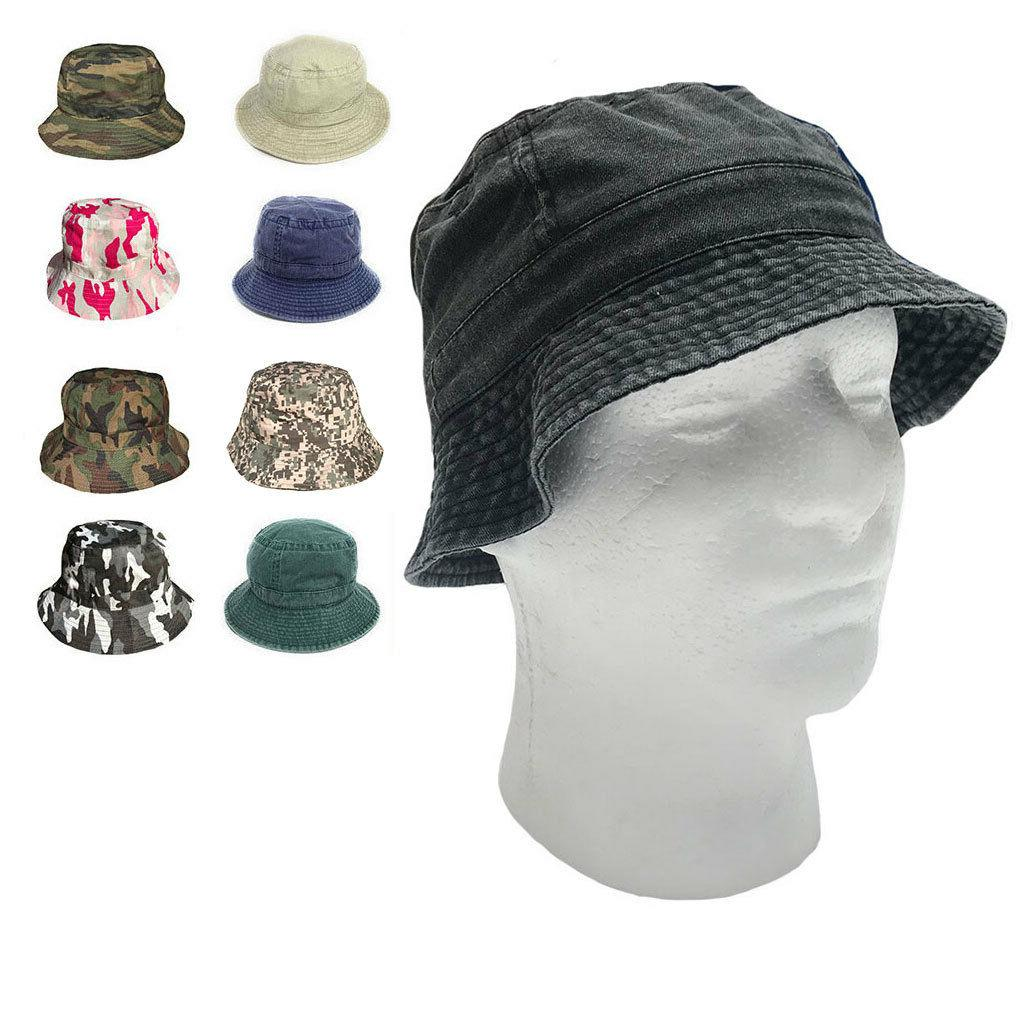Washed Cotton Sun Bucket Hats Caps Fitted Sizes Solid / Camo