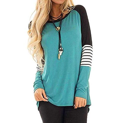 women s fashion patchwork pullover o neck