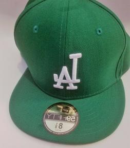 LA DODGERS 59FIFTY NEW ERA FITTED CAP HAT GREEN SIZE 8 1/8 M