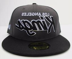 LA Kings Dark Grey On Black with White Outline Fitted Cap Ha