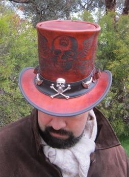 LEATHER STEAMPUNK TOP HAT WITH SKULL 'N WINGS ENGRAVING, WIT