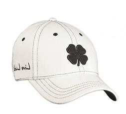 Black Clover LIVE LUCKY Premium Fitted Golf Cap Hat S/M, Whi