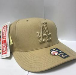 los angeles dodgers beige fitted hat 7