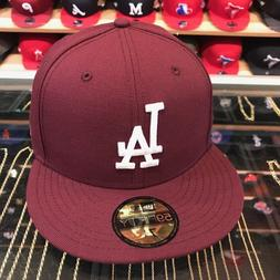 New Era Los Angeles LA Dodgers Fitted Hat All Maroon/White