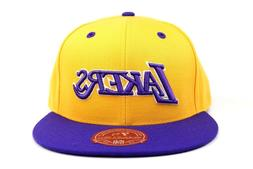 Los Angeles Lakers Yellow Purple White Word Mark NBA Mitchel