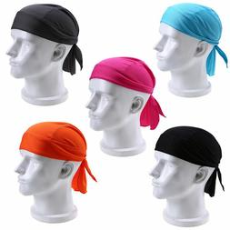 Men Cap Fitted Solid Tied Back Bandana Doo Rag Motorcycle Cy