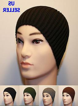 MEN'S FITTED ACRYLIC RIB KNIT BEANIE HAT - BLACK NAVY BLUE B