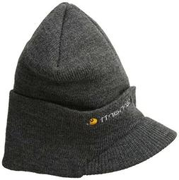 Carhartt Men's Knit Hat With Visor, Coal Heather, One Size,