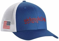 Columbia Men's PFG Mesh Ball Cap Stretch Fit Blue White Red