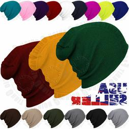 Mens Beanie Hat Knit Winter Cap Solid Skull Slouchy Stretch
