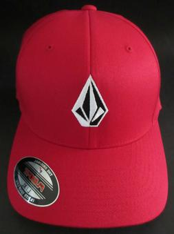 MENS VOLCOM STONE FLEXFIT HAT FITTED RED CAP SIZE L/XL
