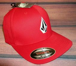 MENS VOLCOM STONE FLEXFIT HAT FITTED RED CAP SIZE S/M