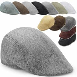 Men Plain Linen Newsboy Gatsby Cap Golf Driving Flat Cabbie