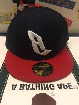 navy red floating b new era fitted