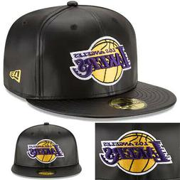 New Era NBA L.A Lakers 5950 Fitted Hat Black Faux Leather Ga