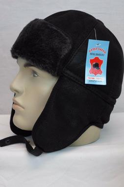 new real shearling leather black grey aviator