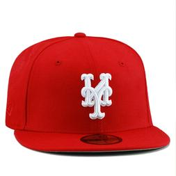 New Era New York Mets MLB Fitted Hat Cap All RED/White
