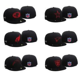 NWT New Era NFL Black/Red Basic 59FIFTY 5950 Team Logo Fitte