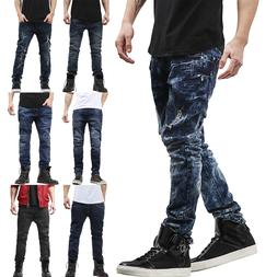 Mens SKINNY JEANS STRETCH Distressed Ripped Denim Pants Casu