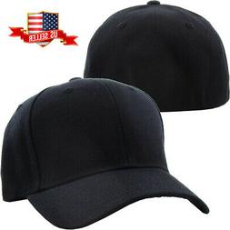 plain fitted baseball cap curved visor solid