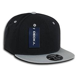 DECKY Retro Fitted Cap, Black/Grey, 7 1/8
